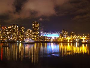 night view at false creek