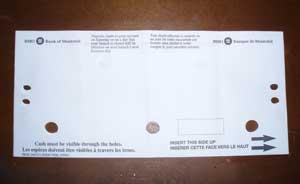 小切手挿入用の封筒